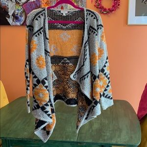 Charming Charlie open front waterfall cardigan. S